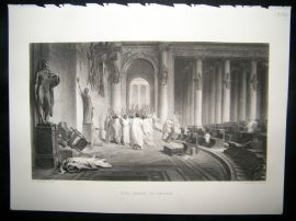 After J. L. Gerome 1874 Steel Engraving. The Death of Caesar